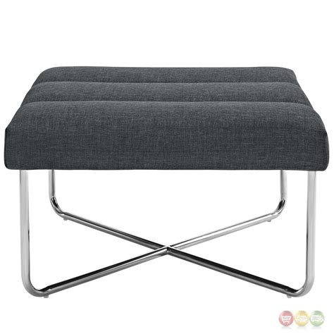 tufted chair with ottoman reach channel tufted fabric ottoman chair with chrome base