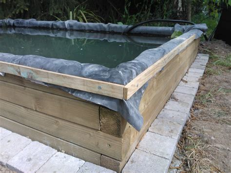 Comment Fabriquer Un Bassin Hors Sol by Bassin 3000l Semi Enterr 233 Partie Hors Sol Bois