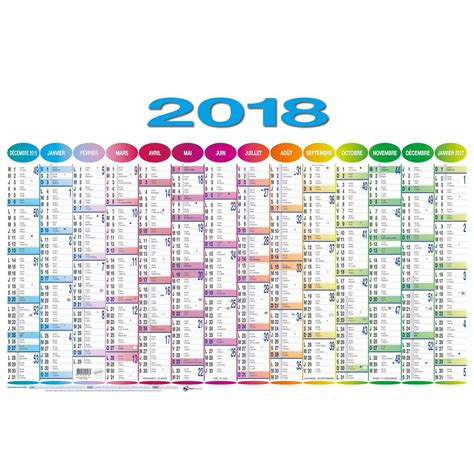 Calendrier 2018 Annuel Calendrier Annuel 14 Mois 43 X 67 Cm D 233 Cembre 2017 224