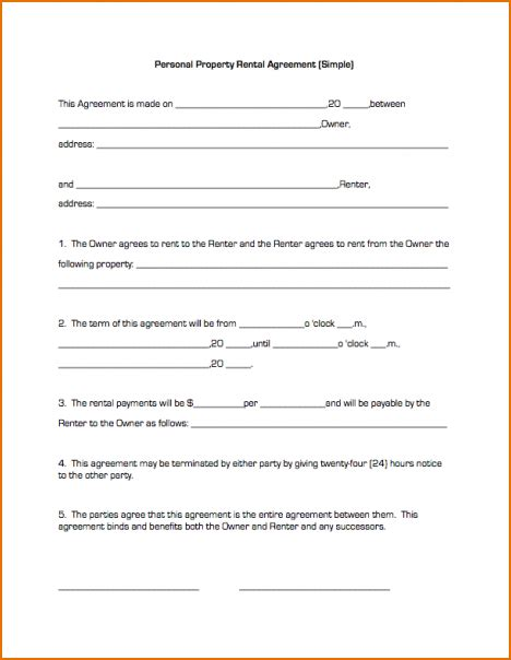 7 Simple Lease Agreement Printable Receipt Simple Car Lease Agreement Template