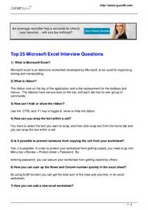 top 25 microsoft excel questions
