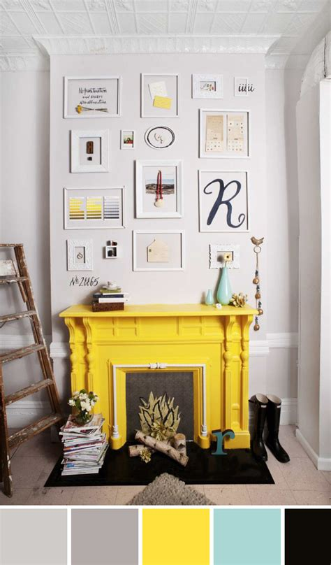 yellow fireplace mr kate color palette inspo acid yellow fireplace