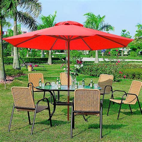 9ft patio umbrella 9ft 8 ribs patio wood umbrella wooden pole outdoor market