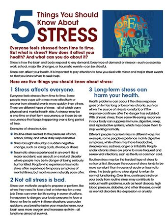 The Top 5 Things For A Stress Free by Stress Fact Sheet 5 Things You Should About Stress Nimh
