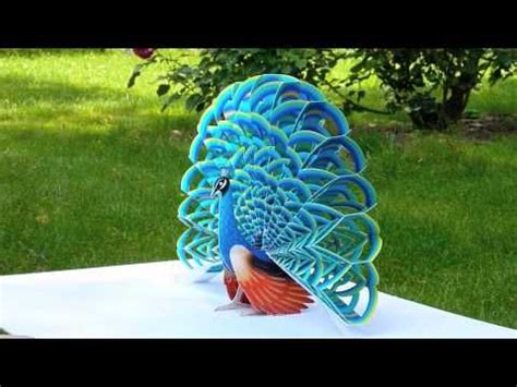 peacock pop up card template easy to follow illustrated guides and