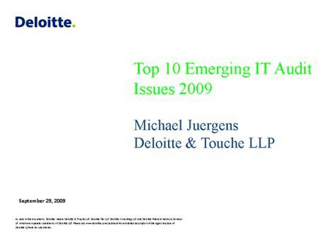 Deloitte Webcast Calendar Top 10 Emerging It Audit Issues