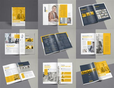 corporate brochure 16 pages a4 template indesign by