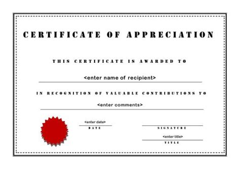 appreciation certificate template free certificate of appreciation templates free printable