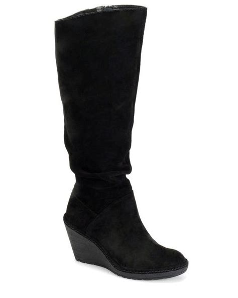 s 246 fft calida slouchy suede knee high wedge boots in black