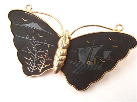 japanese women sideburn jewelry vintage butterfly amita damascene brooch matte black pin