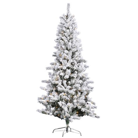 8 ft flocked slim christmas tree vickerman 27875 8 5 x 50 quot heavy flocked slim pine 700 clear lights with cones tree