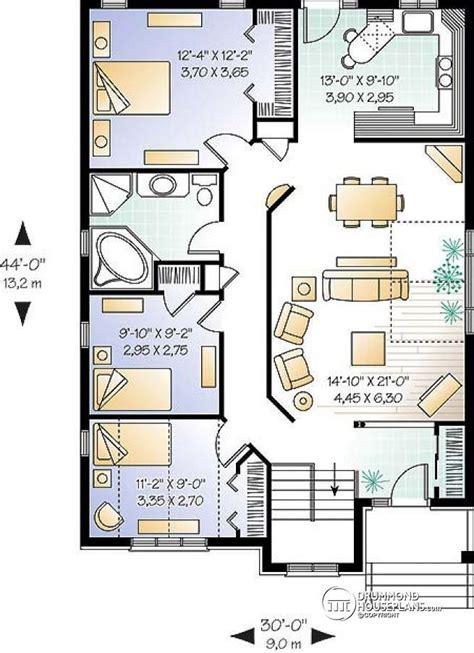 open concept bungalow floor plans w3313 simple 3 bedroom bungalow home plan with open