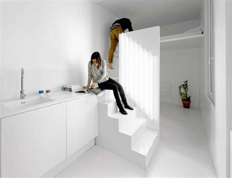 micro parisian studio apartment  artificial lighting