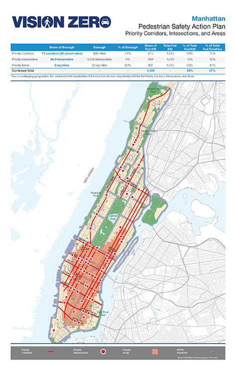 manhattan safety map nyc dot press releases dot and nypd release vision zero
