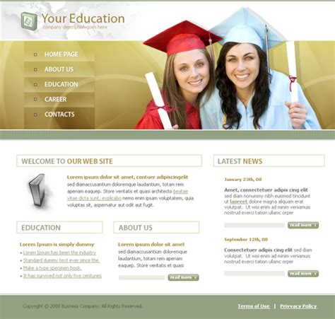 html templates for education website graduation day xhtml template 3659 education kids
