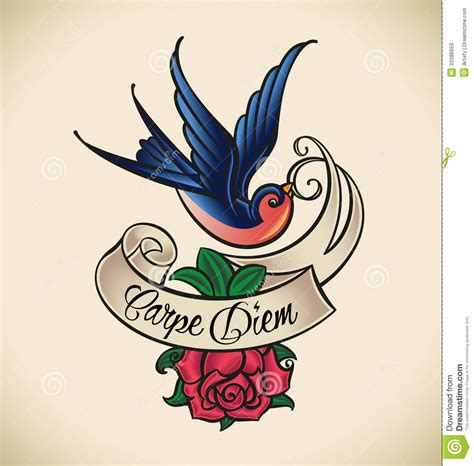 swallow rose tattoo and school royalty free stock