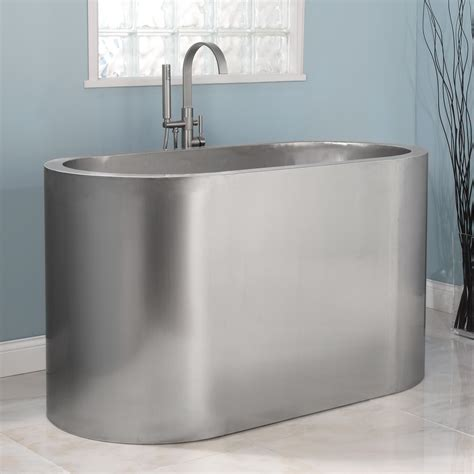 soak bathtub signature hardware 60 quot minato brushed stainless steel
