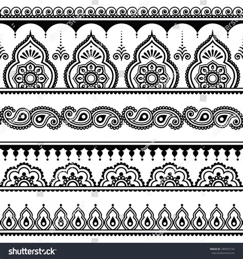 mehndi indian henna tattoo seamless pattern stock vector