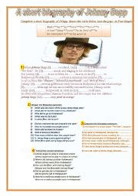 johnny depp short biography in english english teaching worksheets biographies