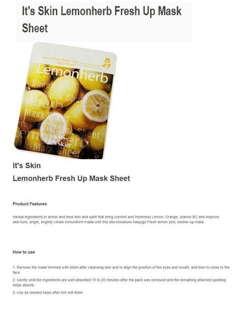 It S Skin Mask Sheet 7 Sheet it s skin lemonherb fresh up mask sheet seoul next by
