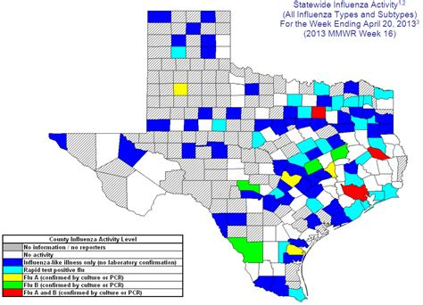 texas flu map 2012 2013 dshs flu report week 16