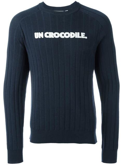 Lacoste Crocodile lacoste un crocodile jumper in blue for lyst