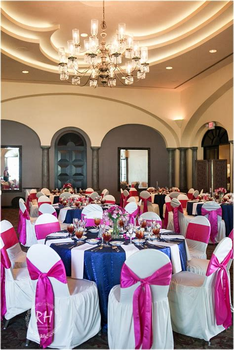 navy blue and pink wedding reception colors at the