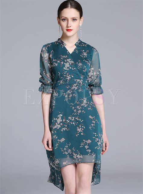 Sleeve Floral A Line Dress dresses skater dresses floral print lotus leaf sleeve