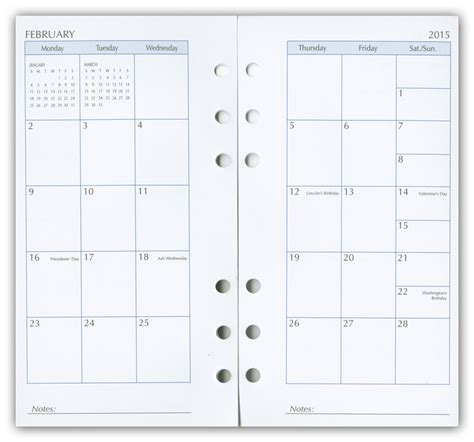 2015 Day Planner Refills, Calendar Refill Pages, Organizer