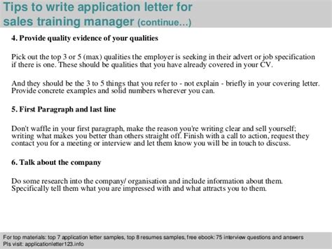 Application Letter Sle Trainee sales manager application letter