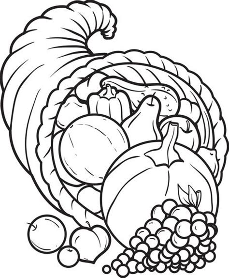 free printable cornucopia thanksgiving coloring page for