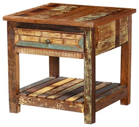 Rustic End Tables Rustic Reclaimed Wood 2 Tier Weathered Square End Table With Drawer Rustic Side Tables And