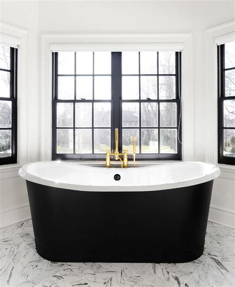 black freestanding bathtub black bathtub under window dressed in schumacher