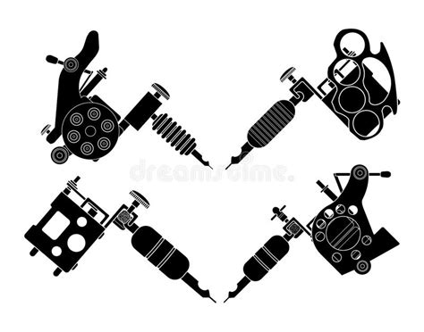 tattoo machine mp3 set of 4 different style tattoo machines stock vector
