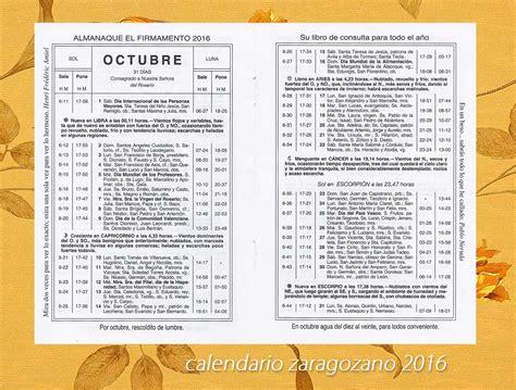 Calendario Zaragozano Territorio Calendario Zaragozano Octubre 2016