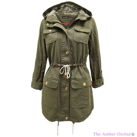 Jaket Parka Green Army Jaket Parka Jumbo Parka Cotton Premium hooded lightweight womens army green parka jacket mac coat 6 16 ebay