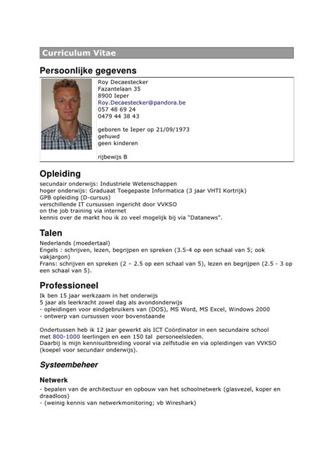 Resume N Cv R 233 Sum 233 Of Roy Decaestecker