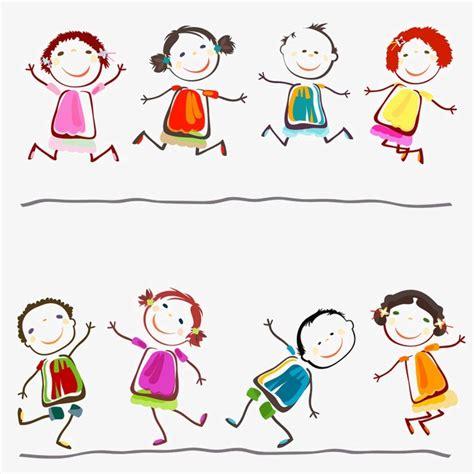 imagenes de niños jugando en la escuela happy children playing cartoon children hand painted