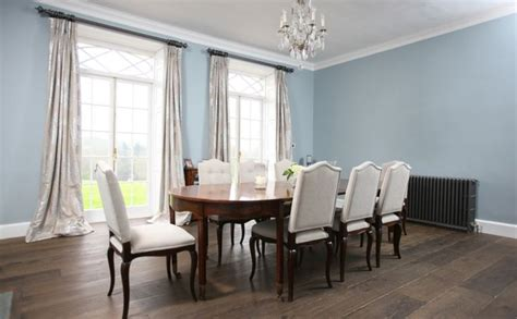 Le Bourget Dining Chairs Upholstered In A Grey Fabric Light Blue Dining Room