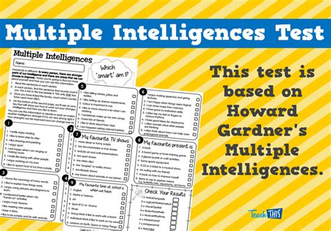 printable gardner s multiple intelligences quiz multiple intelligences test printable special needs