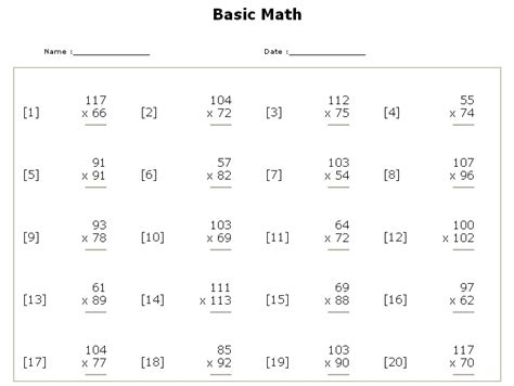 Math Worksheets For Multiplication And Division by Math Worksheets Multiplication New Calendar Template Site