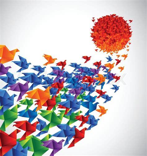 japan social art origami birds fly to the sun stylized