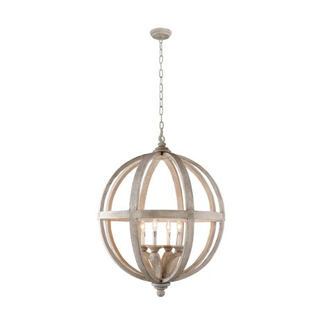 Y Decor Hercules 4 Light Brown Wood Globe Chandelier Globe Chandelier