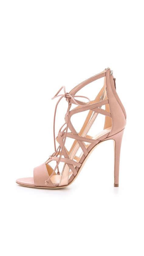 pink lace up sandals alejandro ingelmo boomerang lace up sandals in pink lyst