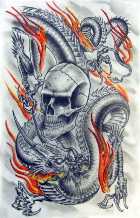 dragon and skull tattoo designs and skull by karlinoboy on deviantart