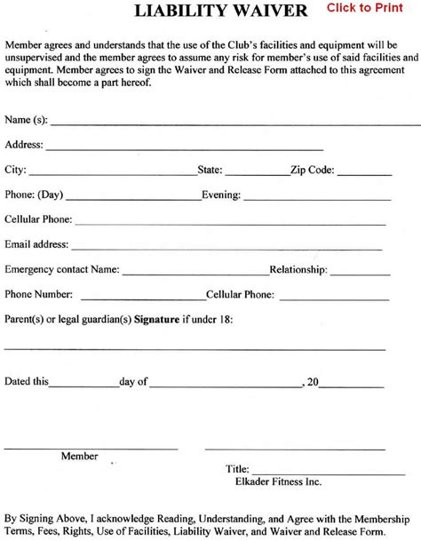 release of liability agreement template member agreement liability waiver template