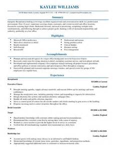 Curriculum Vitae Sles For Receptionist Position Receptionist Cv Exle For Admin Livecareer
