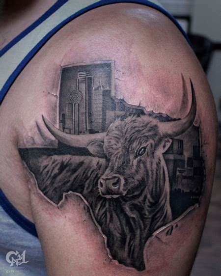 texas longhorn tattoo designs cap1 tattoos