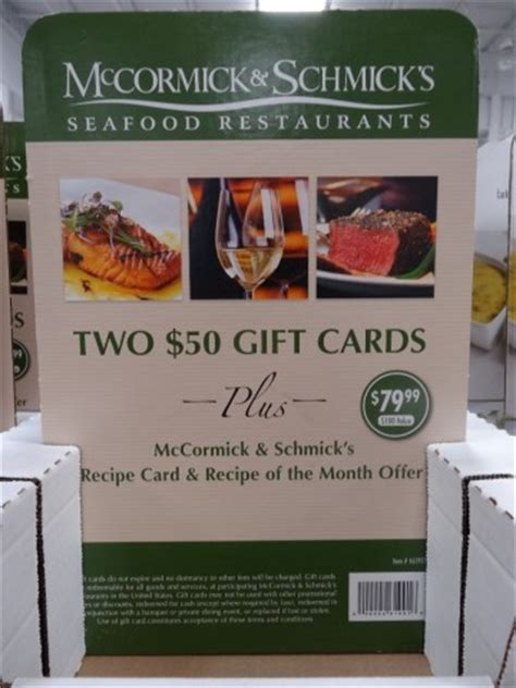 Costco Restaurant Gift Cards - mccormick and schmick s discount gift cards