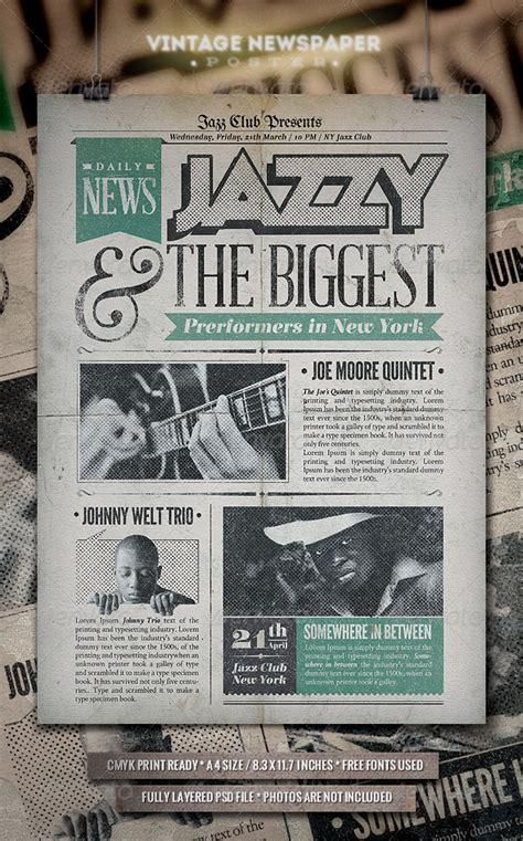 Jazz Vintage Newspaper Poster Concerts Download Best Gfx Download Newspaper Flyer Template Free